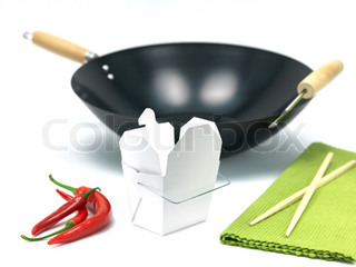A Chinese takeaway container and a wok isolated against a white background