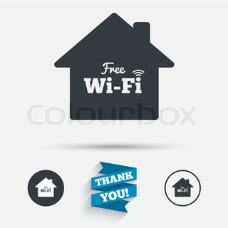 Home Wifi Sign. Wifi Symbol. Wireless Network.
