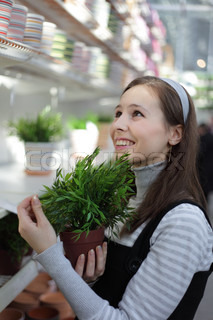 beauty girl shoping plant