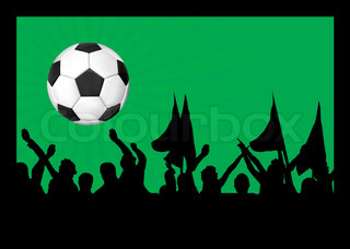 Football fans crowd and the ball vector illustration