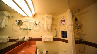 interior of bathroom in passenger cabin in cruise ship