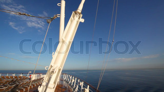 view from deck of cruise ship moving in sea
