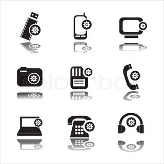 set of 9 setting in technology icons