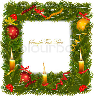 Christmas wreath with christmas tree and candle. Vector illustration.