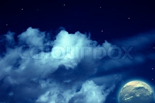 Planets,  moon  stars in cloudy sky