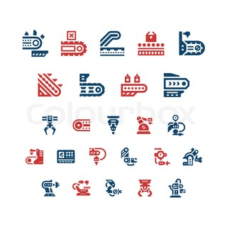 Set color icons of conveyor and robotic industry