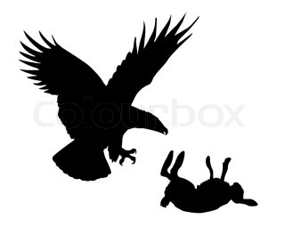 illustration eagle and hare on white background
