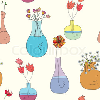 Seamless pattern with vases and flowers