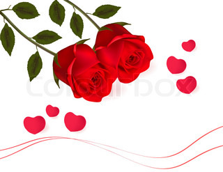 Valentine background. Two red roses and hearts. Vector.