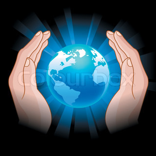 illustration of  the glowing globe in human hands
