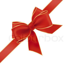 Gift red bow with a ribbon. Vector.