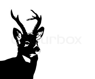 silhouette of the deer on white background