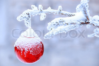 christmas golden ball on snowy new year tree outdoor