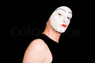 Portrait of  mime on a black background