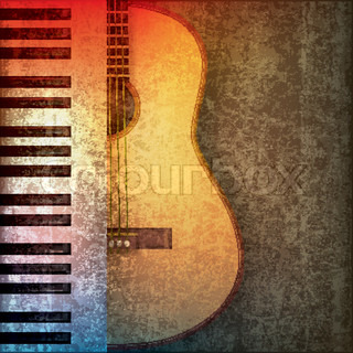abstract grunge music background with piano and guitar