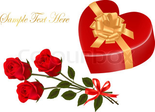Valentine`s day card. Beauty red rose and gift box with bow. Vector.