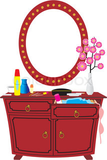 Image cheval with mirror, vase with flowers, cosmetics - cartoon style isolated illustration on white background