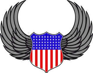 Shield With Wings As A USA Heraldic Symbol For Design