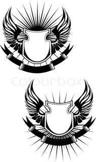 Heraldic shields, wings and ribbons for design
