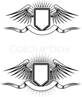 Heraldic blazons with wings and ribbons for design