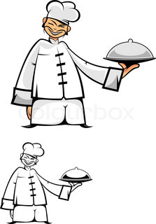 Chinese chef in uniform as a concept of healthy food