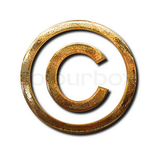Golden copyright symbol. Isolated object with shadow