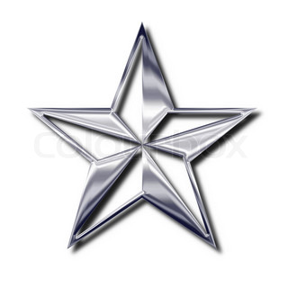 Silver star symbol. Isolated object with shadow