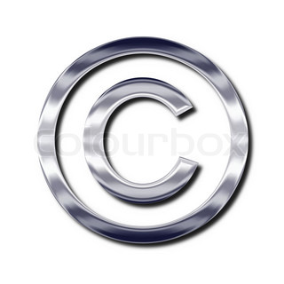 Silver copyright symbol. Isolated object with shadow