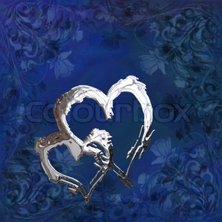 St Valentine's illustration with two silver chrome hearts on the blue background with floral pattern