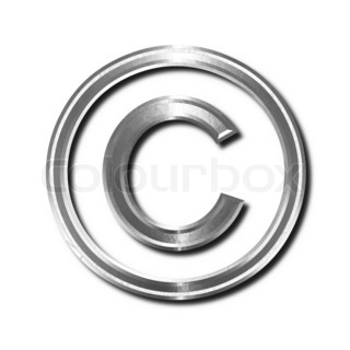 Steel copyright symbol. Isolated object with shadow