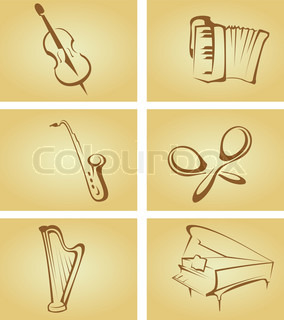 Set of vintage cards with musical instruments for design