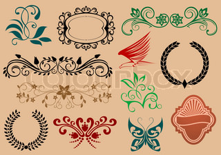 Set of heraldic and decoration symbols for design isolated on background