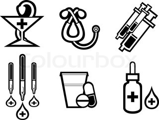 Set of medicine equipment and symbols isolated on white