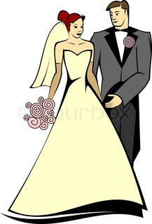 Bride and groom isolated on white for marriage ceremony design