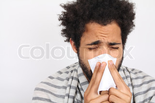 Image of 'man, black, sneezing'