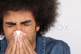Image of 'sneezing, allergy, man'