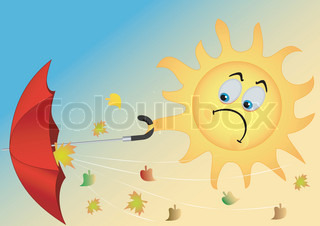 Illustration of the funny sun with an umbrella and flying leaves