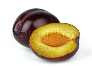 Juicy plum on a white background