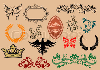 Set of heraldic elements for design and decorate