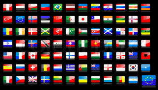 Big set of national flag icons in glossy style