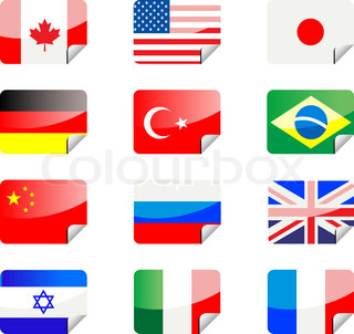 Glossy stickers with national flags isolated on white