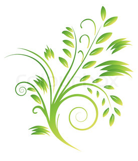 Abstract bouquet of green curls. Vector illustration