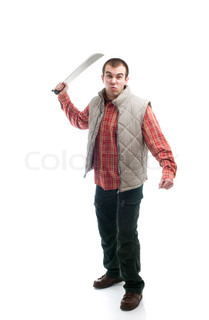 young man with machete isolated on white