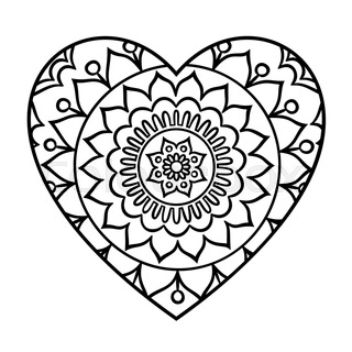Doodle Heart Mandala Coloring Page Outline Floral Design Element In