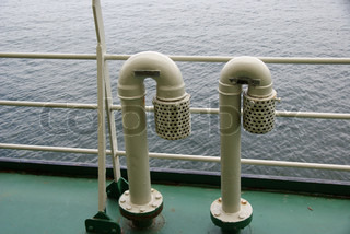 Air pipes with a spark arrester on the ship