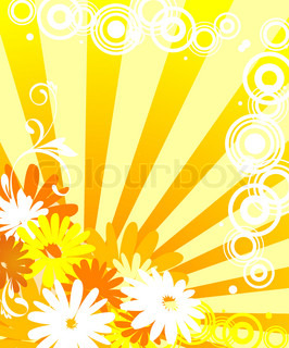 Floral background with flowers and sun lights