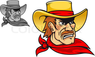 Angry cowboy in cartoon style for mascot or emblem