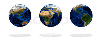 Set of earth isolated on white background