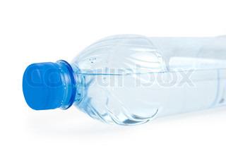 Close up of bottle with drinking water isolated on white