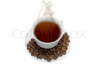 Perfect white coffee cup with beans and steam isolated on white